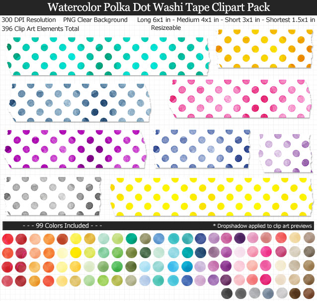 Polka Dot Watercolor Washi Tape Clipart Pack