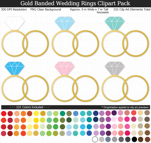 Love this rainbow wedding rings clipart pack! - Use for stickers invitations banner - Gold Band - 9 inches Resizeable - 101 Colors