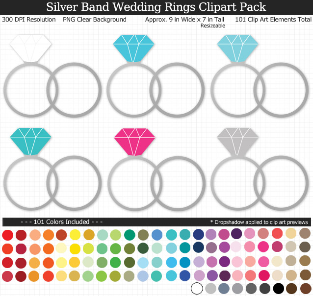 Love this rainbow wedding rings clipart pack! - Use for stickers invitations banner - Silver Band - 9 inches Resizeable - 101 Colors