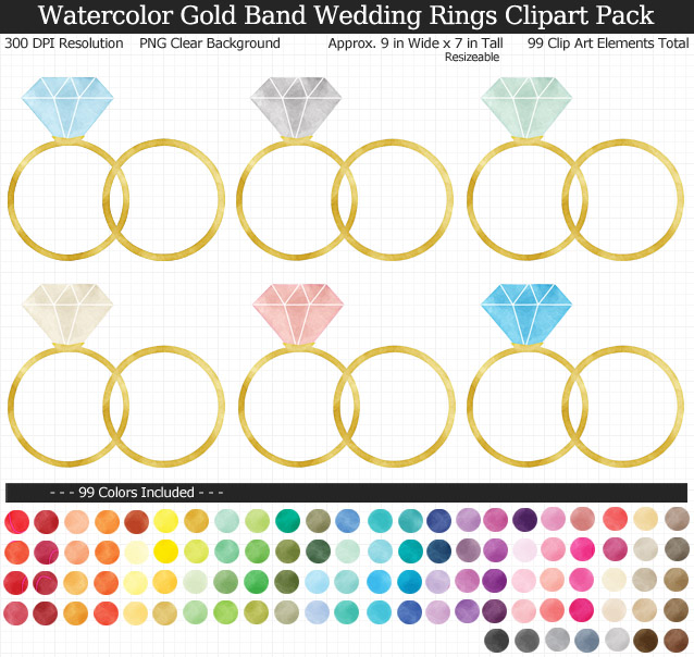 Love this rainbow watercolor wedding rings clipart pack! - Use for stickers invitations banner - Gold Band - 9 inches Resizeable - 99 Colors