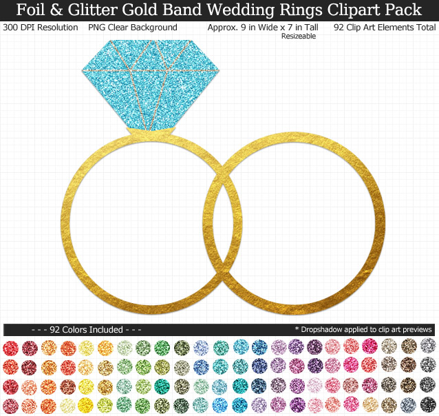 Love this glittery rainbow wedding rings clipart pack! - Use for stickers invitations banner - Gold Band - 9 inches Resizeable - 92 Colors