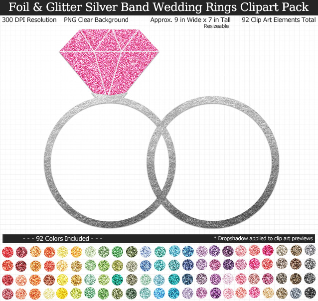 Love this glittery rainbow wedding rings clipart pack! - Use for stickers invitations banner - Silver Band - 9 inches Resizeable - 92 Colors