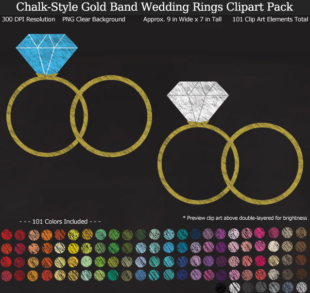 Love this chalkboard rainbow wedding rings clipart pack! - Use for stickers invitations banner - Gold Band - 9 inches Resizeable - 101 Colors