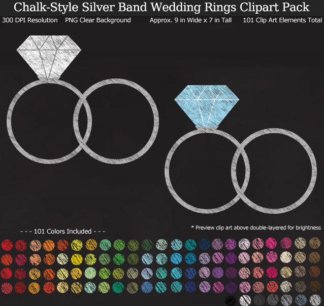 Love this chalkboard rainbow wedding rings clipart pack! - Use for stickers invitations banner - Silver Band - 9 inches Resizeable - 101 Colors
