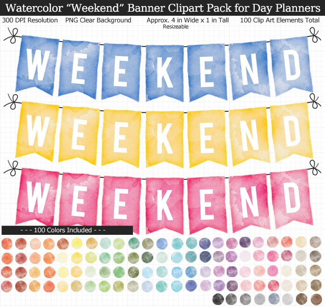 Rainbow Watercolor Weekend Banner Clipart Pack for Planners - Clear Background PNG - Large 4 inches Wide x 1 inch Tall Resizeable - 100 Colors