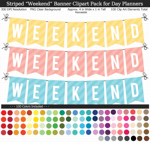Rainbow Stripes Weekend Banner Clipart Pack for Planners - Clear Background PNG - Large 4 inches Wide x 1 inch Tall Resizeable - 100 Colors