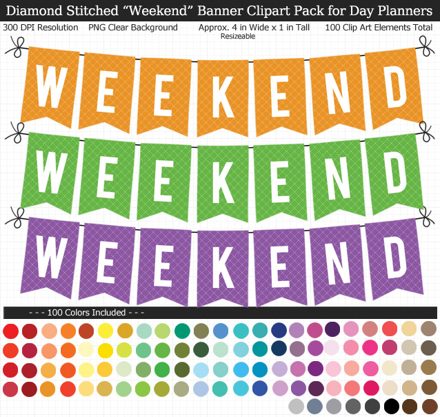 Rainbow Weekend Banner Clipart Pack for Planners - Clear Background PNG - Large 4 inches Wide x 1 inch Tall Resizeable - 100 Colors