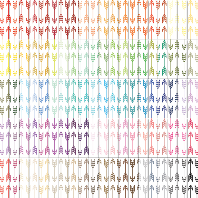 100 Colors White Background Arrows Digital Paper Pack