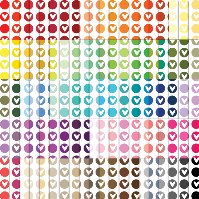 100 Colors White Background Circle Hearts Digital Paper Pack