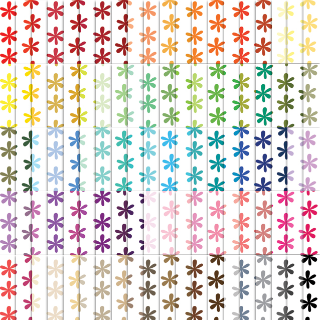 100 Colors White Background Daisy Digital Paper Pack