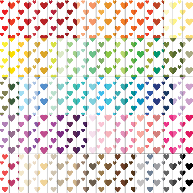 100 Colors White Background Diagonal Hearts Digital Paper Pack
