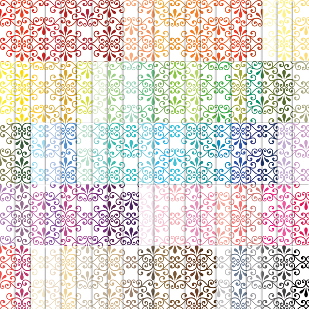Fancy Ornamental Digital Paper Pack - 100 Colors!