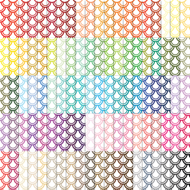 100 Colors White Background Fish Scale Digital Paper Pack