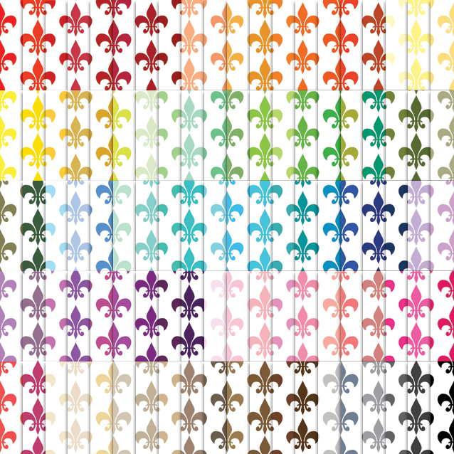 100 Colors White Background Fleur de Lis Digital Paper Pack