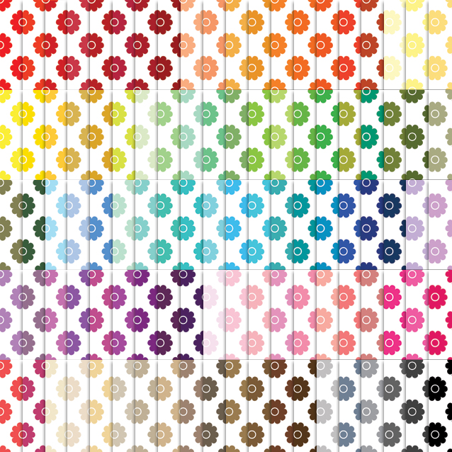 100 Colors White Background Flowers Digital Paper Pack
