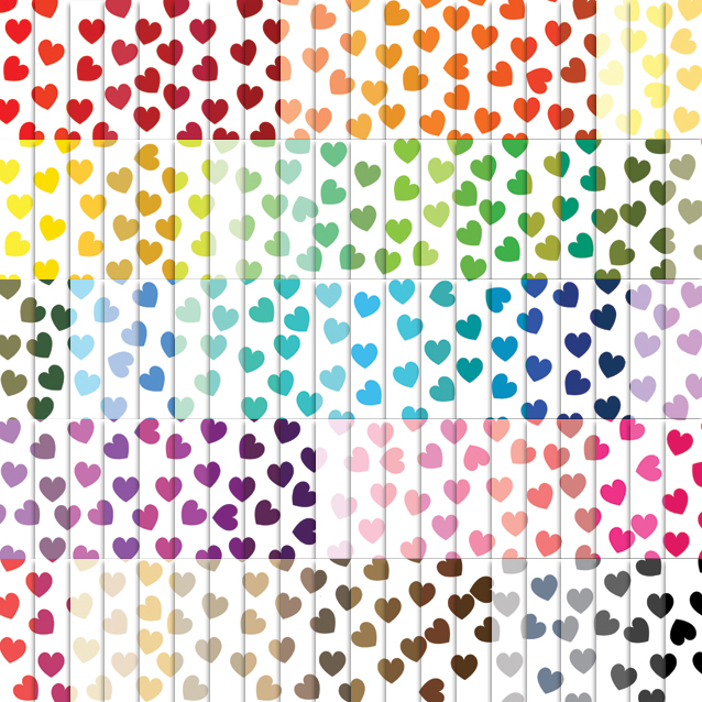 100 Colors White Background Heart Confetti Digital Paper Pack