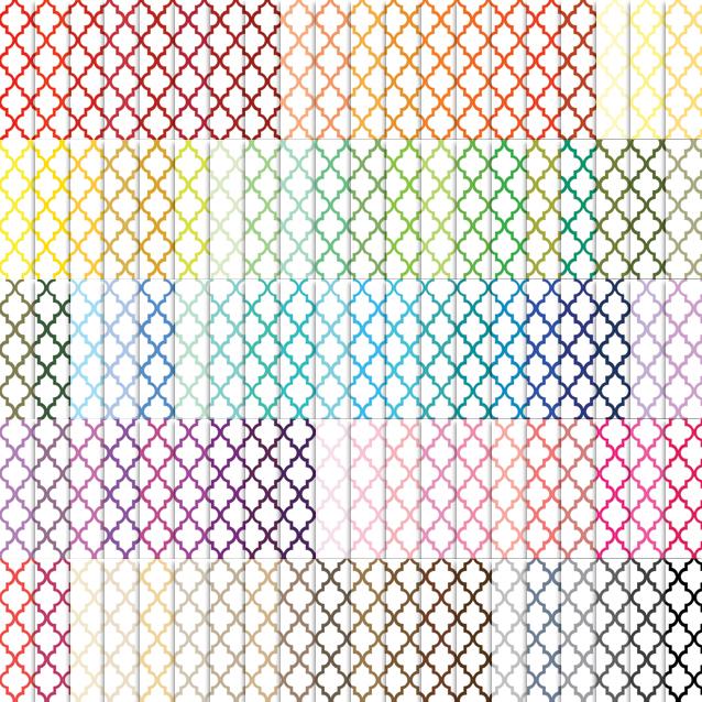 Moroccan Tile Pattern Digital Paper Pack - 100 Colors!