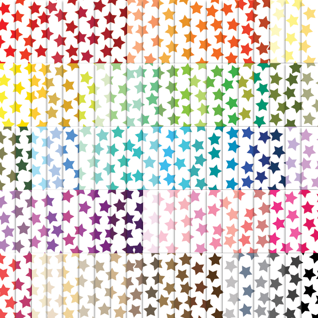 100 Colors White Background Star Confetti Digital Paper Pack