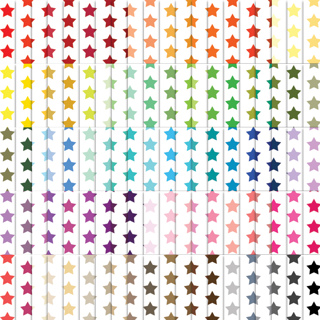 100 Colors White Background Stars Digital Paper Pack