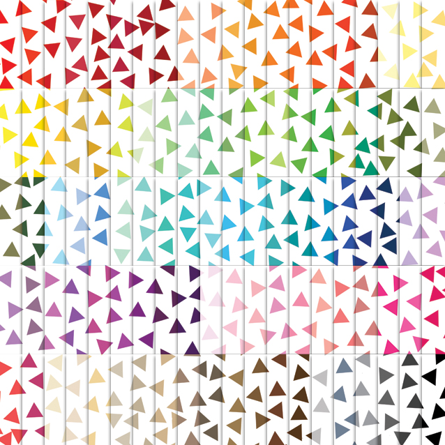 100 Colors White Background Triangle Confetti Digital Paper Pack