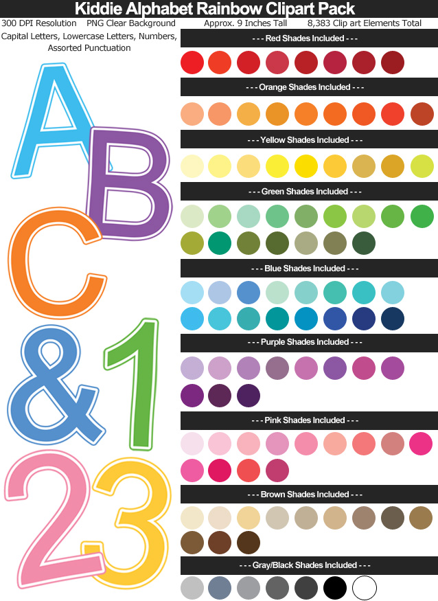 White Outlined Kiddie Alphabet Rainbow Clipart Pack - 101 Colors - Uppercase Lowercase Letters, Numbers, Punctuation - Clear Background PNG - Large 9 Inches Resizeable