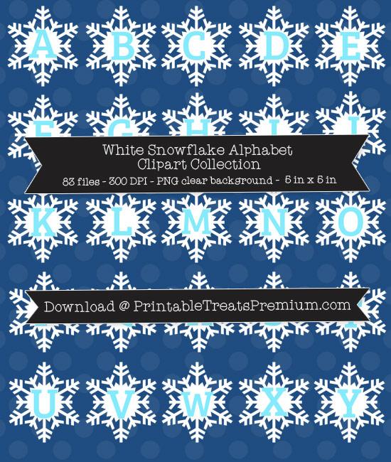White Snowflake Alphabet Clipart Collection