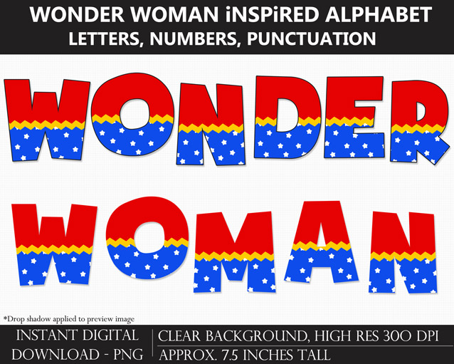 Wonder Woman-Inspired Alphabet Clipart - Letters, Numbers, Punctuation